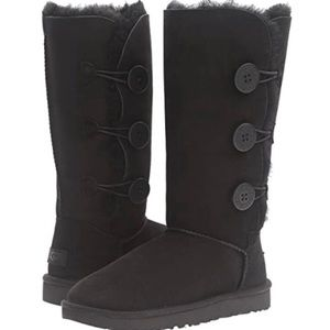 Ugg Boots Black Bailey Button Tall Warm Size 8